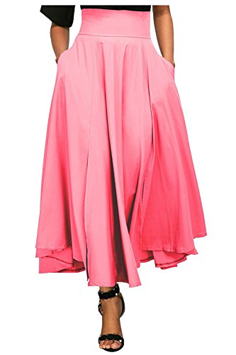 Kumer Women's High Waist Long Skirt Pleated A Line Swing Skirt Front Slit Belted Maxi Skirt, Pink, XX-Large