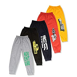 T2F Boys Printed Cotton Track Pants (Pack of 5) Yellow- Red- Grey- Green- Navy
