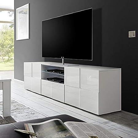 Nouvomeuble Grand Meuble Tv Blanc Laque Design Sandrea Amazon Fr