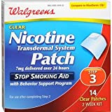 New Walgreens Nicotine Trtansdermal System Patch 7mg 14 patches Step 3 Step3 2 Week Kit Compare to Nicoderm CQ