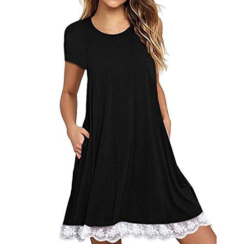 courtes de GreatestPAK dentelle soire au dessus robe dcontract manches O genou du Femme cou lache de robe Noir BxfZq8