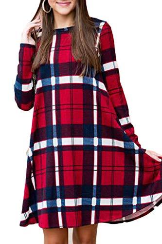 BOOSOULY Women Oversized Plaid Print Long Sleeve Round Neck Swing Tunic Dress Red 2XL