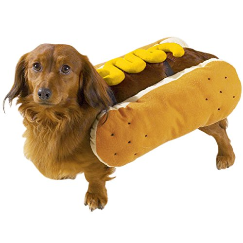 MPP Funny Hot Dog Pet Halloween Costumes Ketchup or Mustard Topping Bun Choose Size (Mustard - Large) (Hotdog-topping)