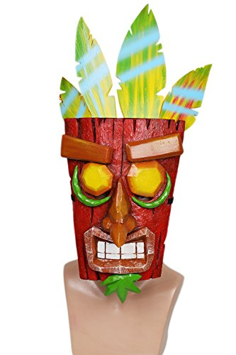(Xcoser Aku Aku Mask Costume Props for Adult Halloween Cosplay Resin Red and)