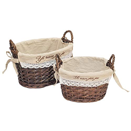 HDKJ Oval Handmade Wicker Storage Baskets with Handle Set of 2 (Coffee-White Linen, Set of 2) (Large Handle White With Basket Wicker)