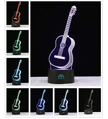 3D Night Light Guitar 7 Colors Amazing Optical Illusion LED Light Home Decorations Produce Unique Lighting Effects