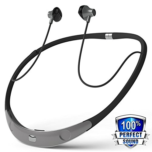 Bluetooth Headphone, Wireless Neckband Headset Sport Sweatproof Magnetic Stereo Noise Reduction Earbuds with Mic for iPhone Android Cellphone by Holida
