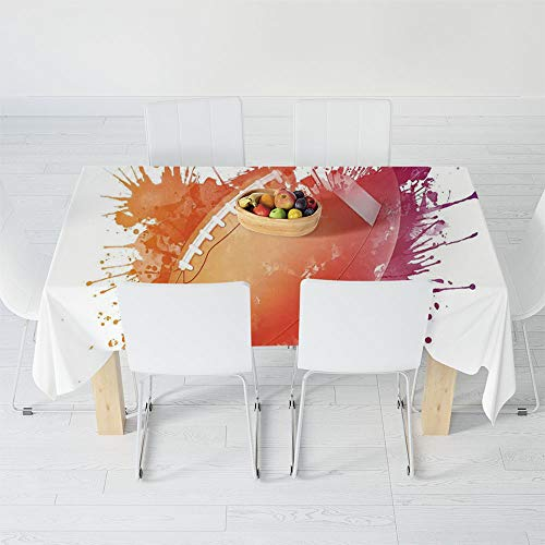 Custom Tablecloth,Sports,for Home & Office & Restaurant Table Tea Table,40.2 X 30.3 Inch,Rugby Ball in Digital Watercolors Splash Recreational