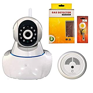 Coolcam WiFi IP Network Camera, Wireless, Video Monitoring, Surveillance, Security Camera, 2 Way Audio, Smoke and CO Detector, Emergency Pendant