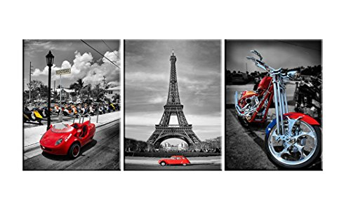 Eiffel Tower Motorcycle Wall Art