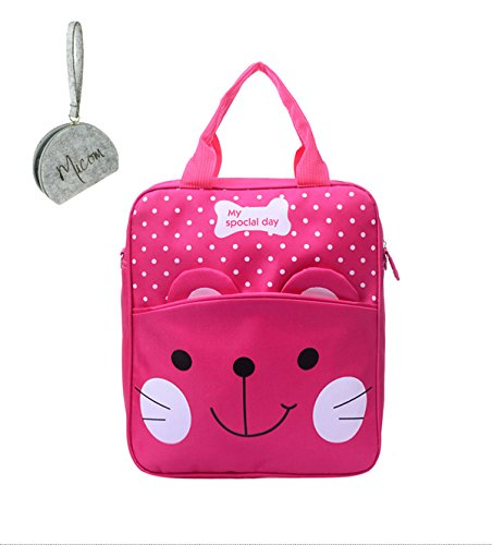 Micom Cute Cat 3 Ways School Bag Backpack Purse for Girls Kids (Hot Pink) (Cat Suite)