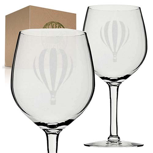 Hot Air Balloon Etched Engraved Wine Glass set gift for christmas -