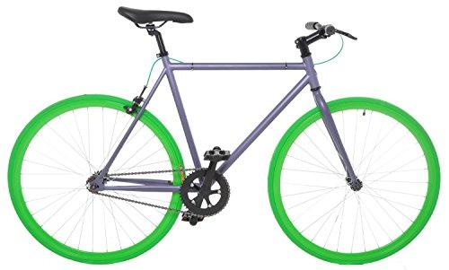 Vilano Fixed Gear Bike Fixie Single Speed Road Bike, Grey/Green, 58cm/Large