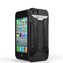 IPhone5s SE Case,2 In 1 New Armour Tough Style Hybrid Dual Layer Armor Defender PC Hard Cases With Stand [Shockproof Case] For IPhone 5s SE ( Color : Black-Iphone5s Se )