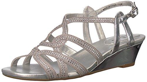 (Bandolino Women's Galtelli Wedge Sandal Silver 10.5 M)