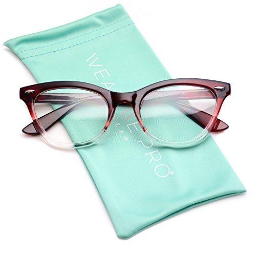 Gradient Frame Lens (WearMe Pro - Fashion Vintage Womens Clear Lens Cat Eye Glasses (Gradient Red Frame, 50))
