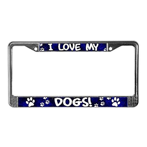 CafePress Blue I Love My Dogs Chrome License Plate Frame, License Tag Holder