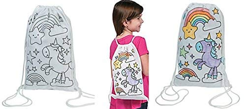 Star All Backpack Drawstring - Fun Express 12 Decorate - color Your Own UNICORN Canvas Drawstring Backpack tote Bags