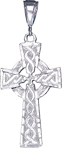 eJewelryPlus Sterling Silver Celtic Cross Pendant Necklace Diamond-Cut Finish with Chain (With 24