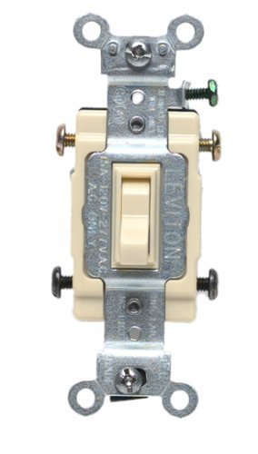 Leviton 54504-2I 15-Amp, 120/277-Volt, Toggle Framed 4-Way AC Quiet Switch, Commercial Grade, Ivory ()