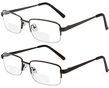 Reading Glasses Set of 2 Bifocal Half Rim Metal Glasses for Reading Quality Spring Hinge Readers Men and Women +1