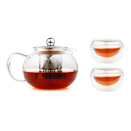 Teapot Mini Kettle Set ( Microwavable and Stovetop Safe ) with 2 Double Wall Glass Tea Cup ( 2 oz ) - Tea Pot and Tea Strainer Set - Tea Infuser Holds 20 Ounce ( 600 ml )
