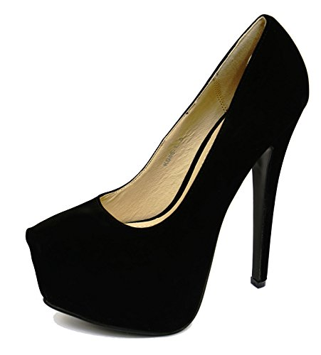 Ladies Black Faux-Suede Slip-On Stiletto High-Heel Platform Court Shoes Sizes 3-8 iLkq2c