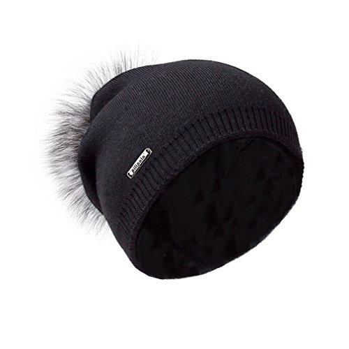 Pilipala Women Oversized Slouchy Beanie Bobble Hat by with Fur Pompom VC17601 Black Gray (Black Toque)