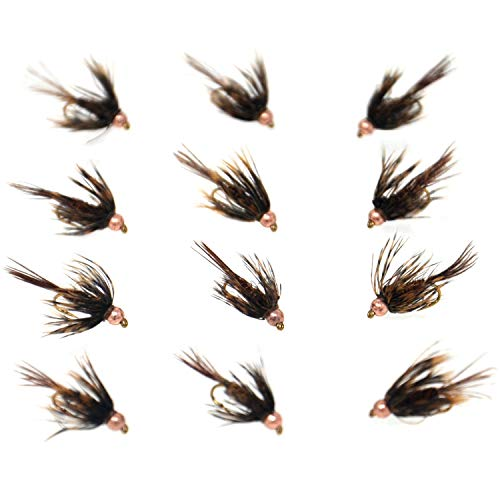 (Outdoor Planet 12 Bead Head Soft Hackle Pheasant Tail Mayfly Nymph Flies/Wet Flies for Trout Fly Fishing Flies Lure Assortment)