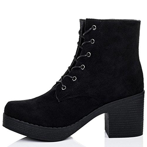 SPYLOVEBUY VIOLA Mujer Cordone PlataformaTacón Bloque Botes Bajas Zapatos Negro - Gamuza Sintética