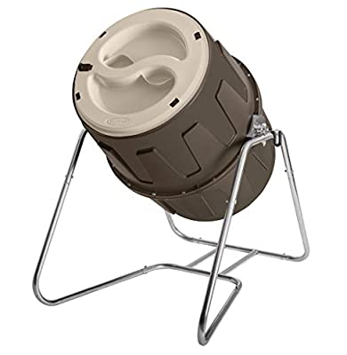 Suncast Resin Tumbling Compost Barrel - 6.5 Cubic' Composter with Latching Dual Lids and Galvanized Steel Frame - Gray from Suncast