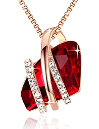 Wish Stone Pendant Necklace Made Swarovski Crystals Birthstone Jewelry Gifts Women, Rose Gold Plated, Silver Tone