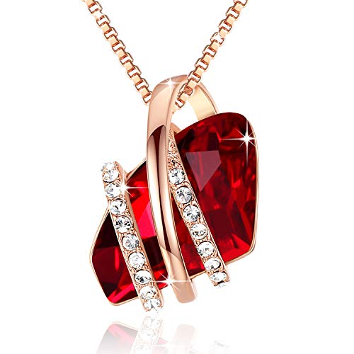 "Leafael Presented by Miss New York Wish Stone Made with Swarovski Crystals Focal Shape Ruby Red Pendant Necklace, Rose Gold Plated Chain, 18""+2"", Nick"