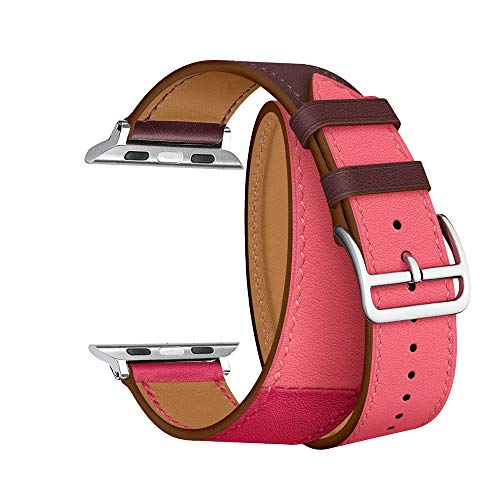 CAILIN Compatible Bands Replacement for iWatch 38mm Series 1 Series 2 Series 3,Luxury Genuine Leather Smart Watch Band Strap Double Tour Replacement 38mm (Bordeaux/Rose 1, 38mm Series3/2/1)
