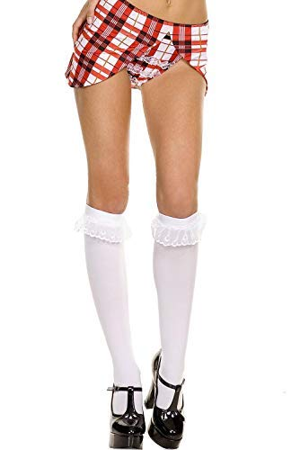 Music Legs Sky Hosiery 5752 White Opaque Knee High with Ruffle Lace Trim, One size ()