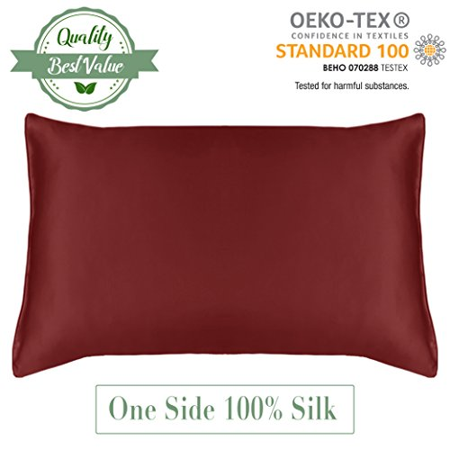 MYK - Natural Collection 19 Momme 100% Softest Silk Pillowcase with Cotton Underside For Hair and Facial - Fully Zippered Pillow Cover - King Size 20 x 36 Inches, Burgundy