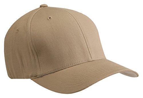 Yupoong Flexfit Hard Buckram Panels Mid-Profile Cap, Khaki, Large / X-Large