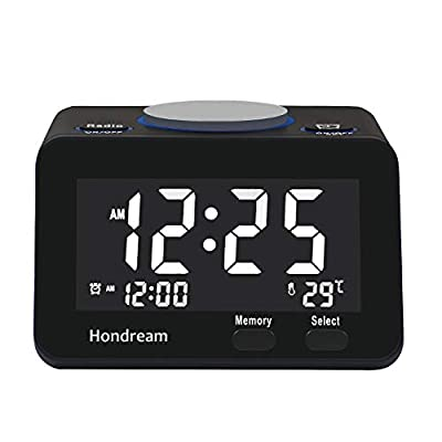 Hondream Digital Alarm Clock Radio with FM Radio, USB Charger, Dimmer, Snooze for Bedrooms …
