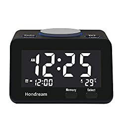 Hondream Digital Alarm Clock Radio with FM radio, USB Charger, Dimmer, Snooze for Bedrooms