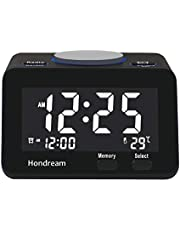 Digital Alarm Clock with Dual USB Charger, Easy Snooze, FM Radio, Large LCD Display, Dimmer, Temperature and Battery Backup for Bedrooms