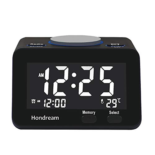 Hondream Digital Alarm Clock Radio with FM radio, USB Charger, Dimmer, Snooze for Bedrooms (Best Digital Clock Radios Reviews)