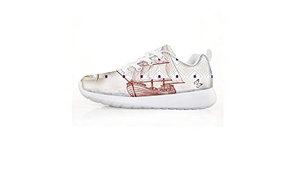 Owaheson Boys Girls Casual Lace-up Sneakers Running Shoes May Flower Sailboat Butterfly
