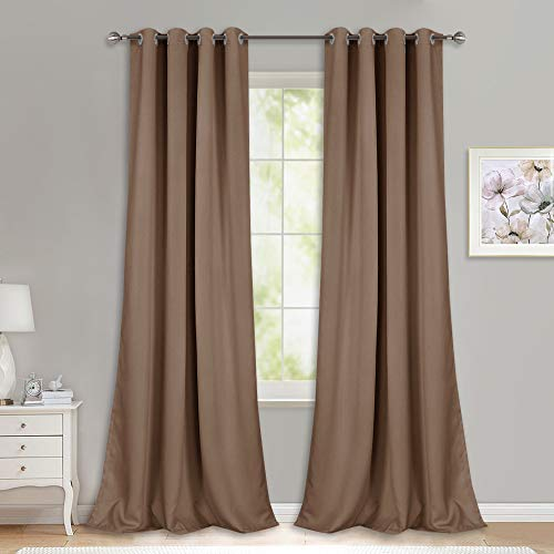 NICETOWN Light Reducing Grommet Curtains - (W52 x L108, Cappuccino, 2 Pieces) Tripe Woven Textured Soft Curtain Panels for Living Room Window Treatment Drapes