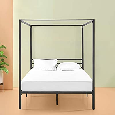buy popular 8f2d0 82865 Zinus Patricia Metal Framed Canopy Four Poster Platform Bed Frame/Strong  Steel Mattress Support/No Box Spring Needed, Double