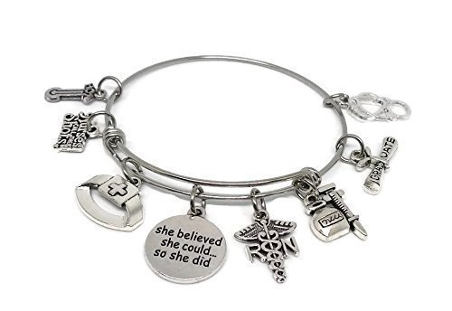 Registered Nurse Stainless Steel Charm Bracelet - Medical expandable Bangle - RN Caduceus - Graduation Gift