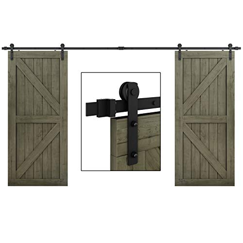 EaseLife 10 FT Double Door Sliding Barn Door Hardware Kit - Heavy Duty | Ultra Hard Sturdy | Easy Install | Slide Smooth Quiet | Fit Double 30