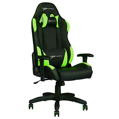 - E-WIN Gaming Chair Ergonomic High Back PU Leather Racing Style with Adjustable Armrest and Back Recliner Swivel Rocker Office Chair Green