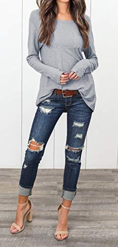 Jumpers Hauts Casual T Printemps Manches Jeune Automne Longues et Shirts Fashion Couleur Pulls Blouse Unie Col Tops Gris Rond Tees Femmes qxfFOnwf