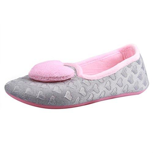 Elevin (tm) Zwangere Vrouwen Thuis Slippers Hartvormige Gesplitste Winter Warme Schoenen Yoga Schoenen Grey1