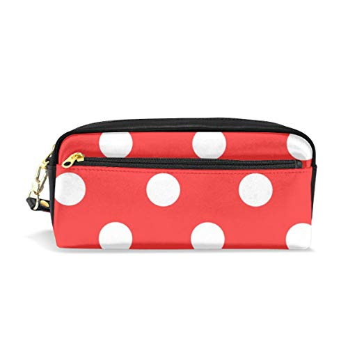 Pencil Pen Case Bag Red and White Polka Dot Pouch Holder for High School Office Girl Simple Cosmetic Purse for Colored Pencils with Handle Pencil Box Desk (Polka Portfolio Leather Dot)